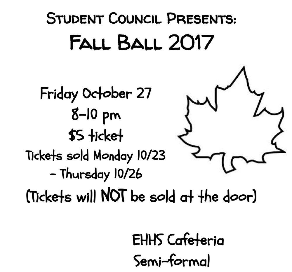 Fall Semi-Formal Dance at EHHS Friday Oct. 27th