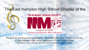 Music Honor Society Recital Wednesday December 20th 7 pm