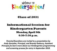 Kindergarten Informational Session for Parents