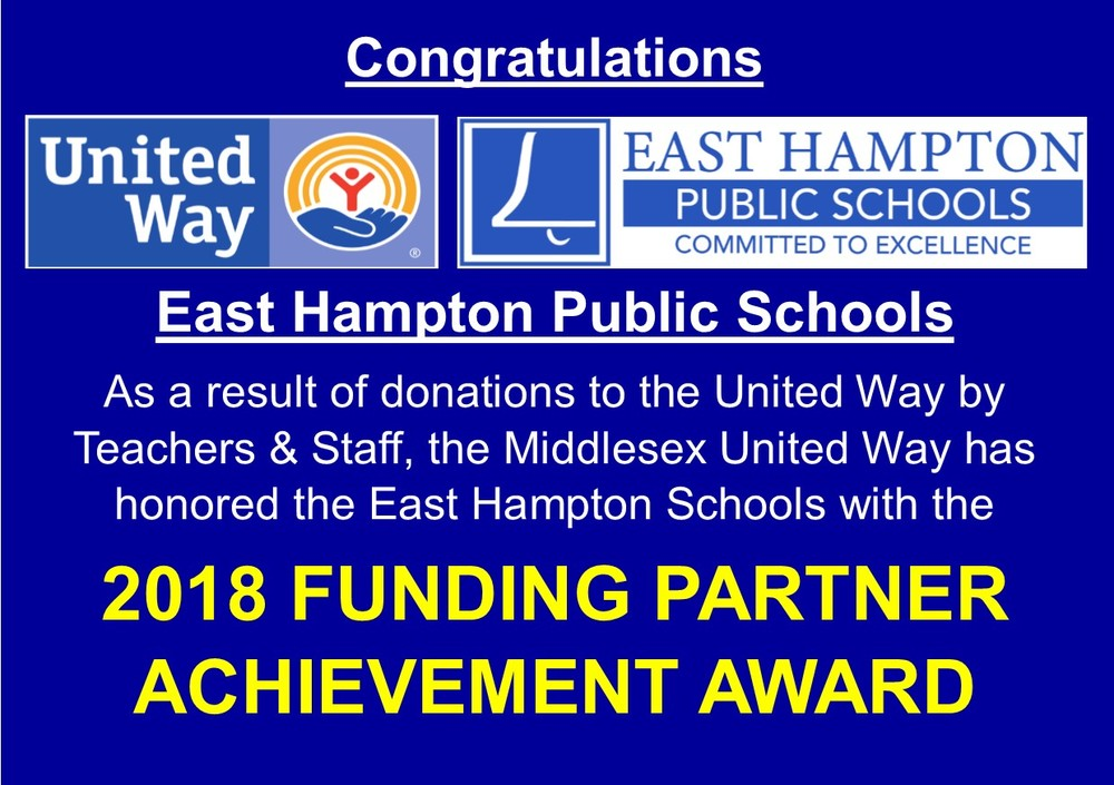United Way awards East Hampton Schools!