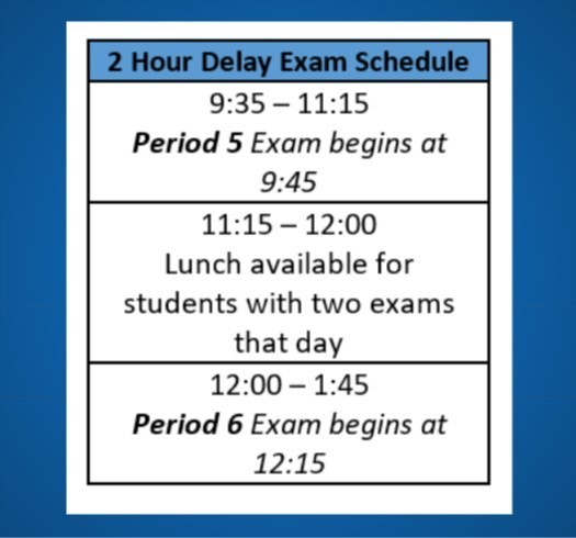 2 Hour Delay Exam Schedule in effect for Tuesday Jan. 22nd.