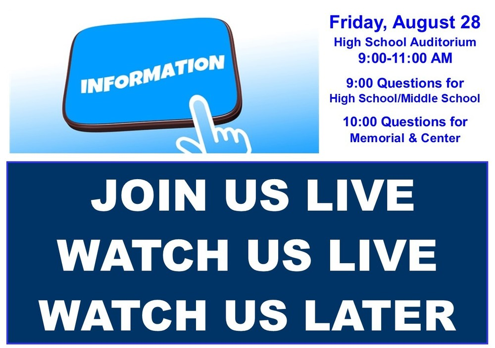 August 28 Parent Meeting:  Join us live - or watch later!