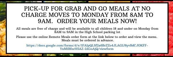 Wednesday to Monday Schedule Change for Grab & Go Meals