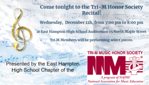 Tri-M Honor Society Recital TONIGHT!