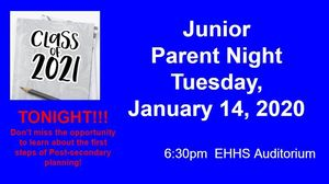 Junior Parent Night Tonight! Jan. 14th, 2020