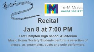 Tri-M Music Honor Society Recital Wed. Jan. 8 at 7:00 pm