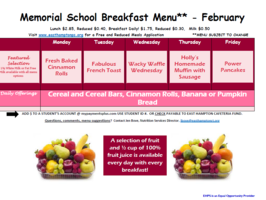 February Breakfast  Menu