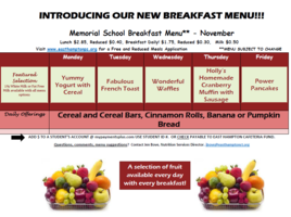 November Breakfast Menu
