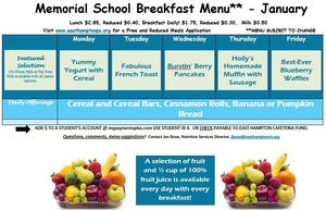 January Breakfast Menu