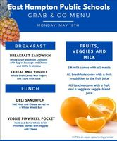 Grab & Go Menus for Monday 5/18