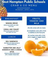 Mon. April 6 Grab & Go Menu with change for Spring Recess