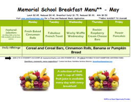 May Breakfast Menu