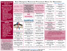November PRE-SCHOOL Menu