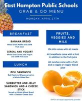 Monday, April 27th, Grab and Go Menu