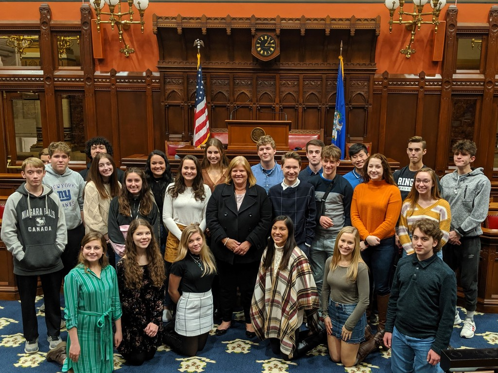 Students pose with Rep. Haines