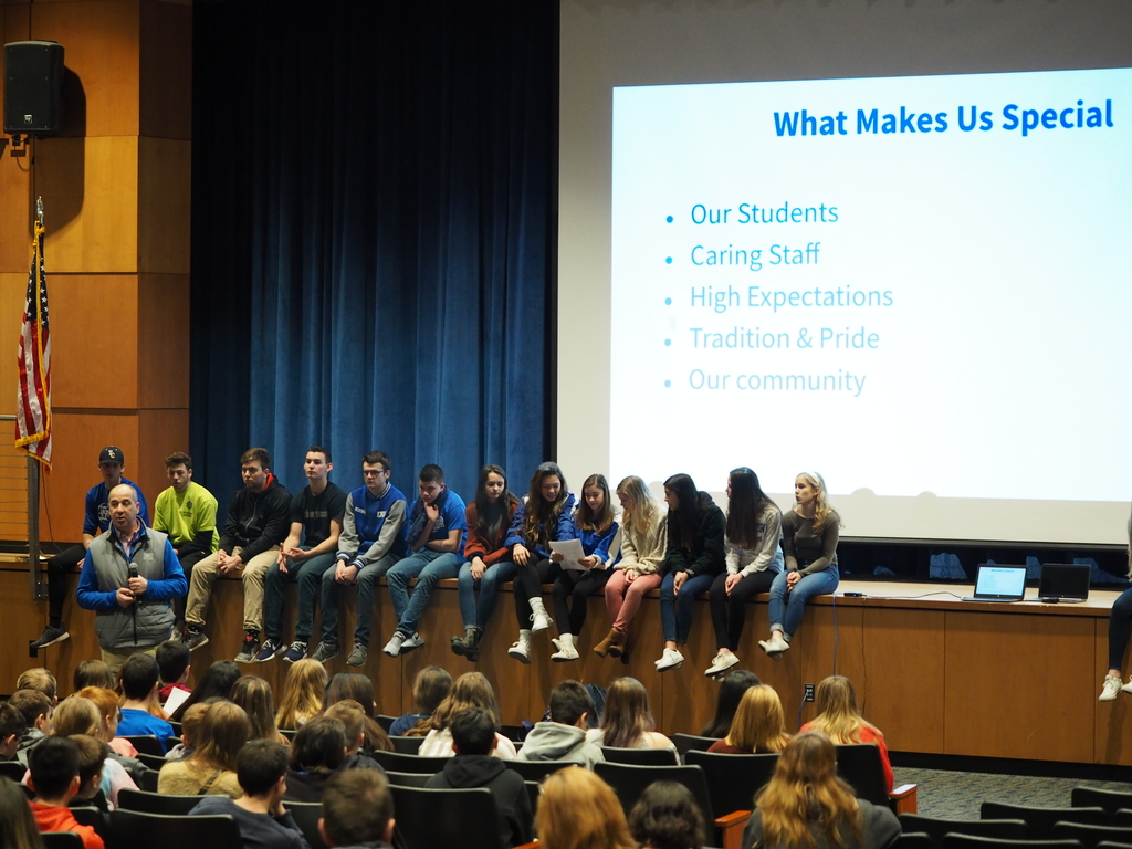 Assembly with 8th grade visitors & HS student ambassadors