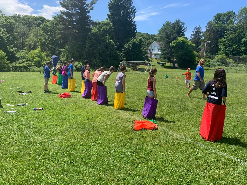Sack races at Field Day